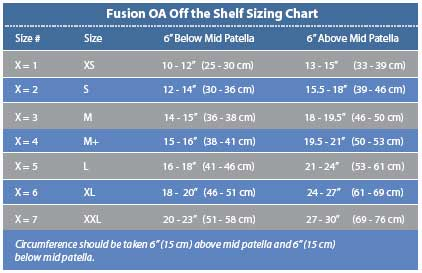 Fusion OA Off the Shlef Sizing Chart