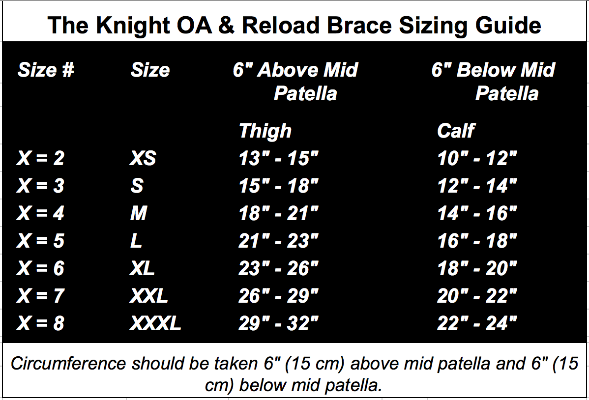 Knight Sizing Chart